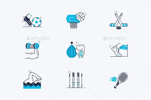 Sport Line Icons Set - Miscellaneous Vectors