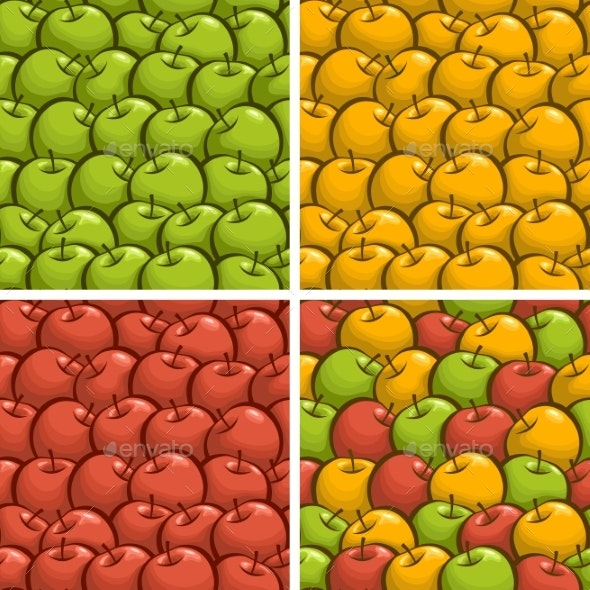 Vector Apple Seamless Patterns - Backgrounds Decorative
