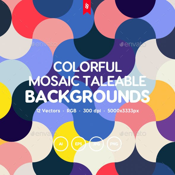Abstract Colorful Mosaic Seamless Patterns