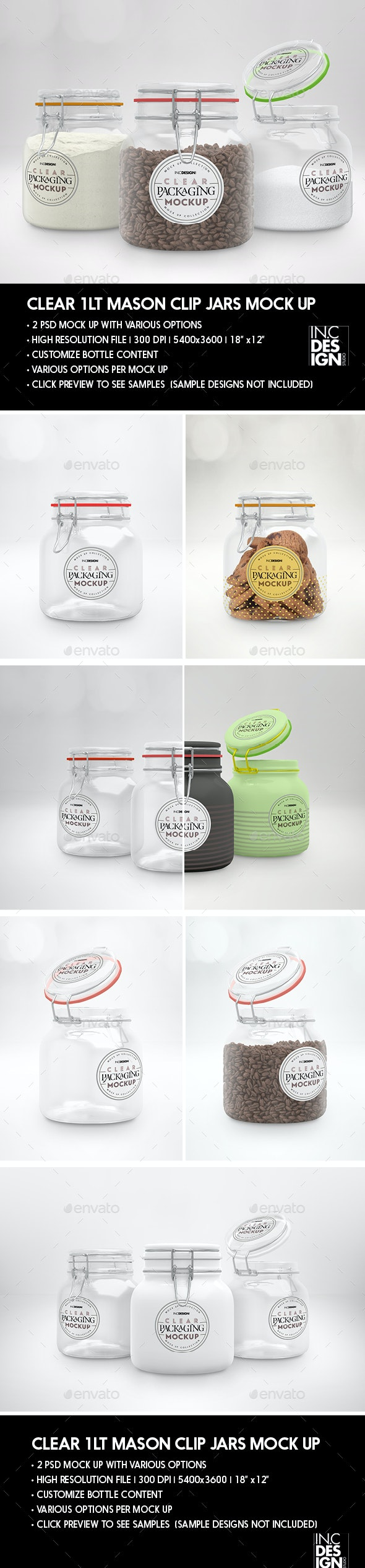 Clear 1Liter Mason Clip Jar Packaging Mockup - Packaging Product Mock-Ups