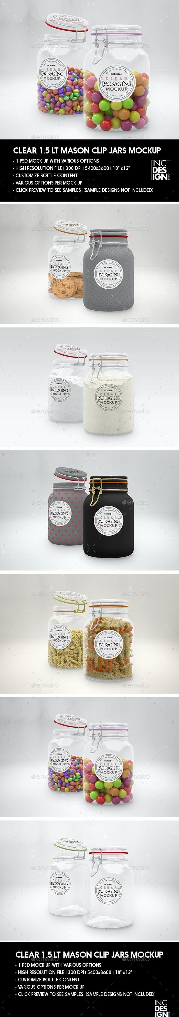 Clear 1.5 Liter Mason Clip Jar Packaging Mockup - Packaging Product Mock-Ups