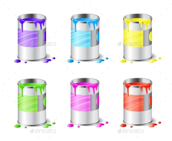 Set of Open Metal Paint Cans with Color Paint - Man-made Objects Objects