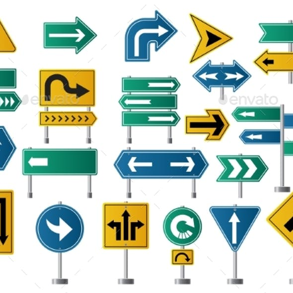 Arrows Direction Road Signs for Street or Highway