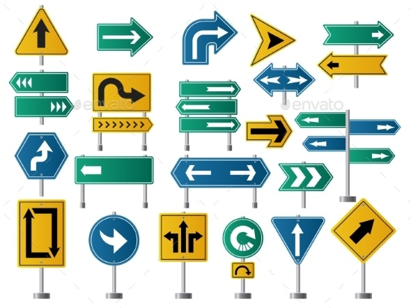 Arrows Direction Road Signs for Street or Highway - Man-made Objects Objects