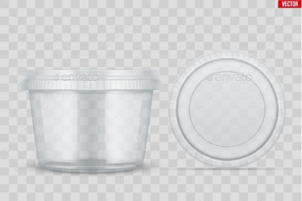 Set of Clear Plastic Container for Food - Man-made Objects Objects
