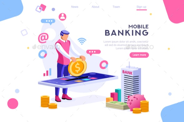 Coin on Smartphone Money Banner - Industries Business
