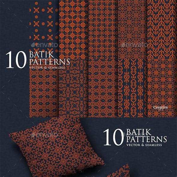 10 Batik Seamless Patterns