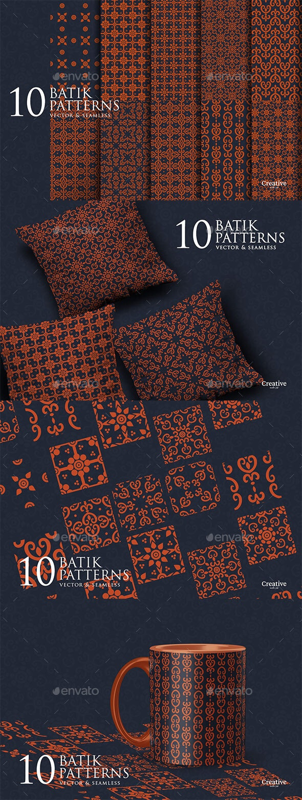10 Batik Seamless Patterns - Patterns Decorative