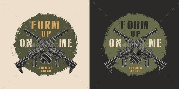 Military Colorful Round Label - Miscellaneous Vectors