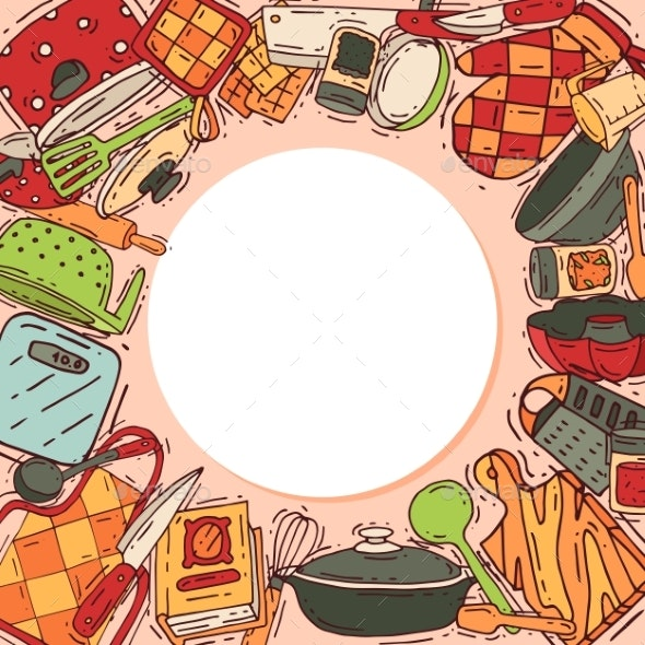 Cooking Equipment Round Pattern Vector Kitchenware - Food Objects