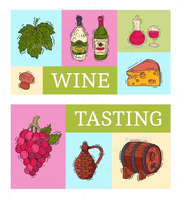 Wine Taste Club Banner Vector Illustrations Glass - Food Objects
