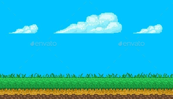 Pixel Art Seamless Background With Sky and Ground - Backgrounds Game Assets
