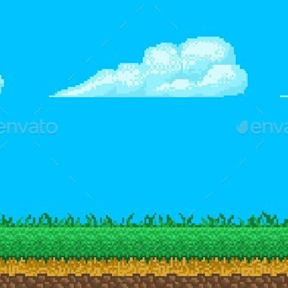 Pixel Art Seamless Background With Sky and Ground