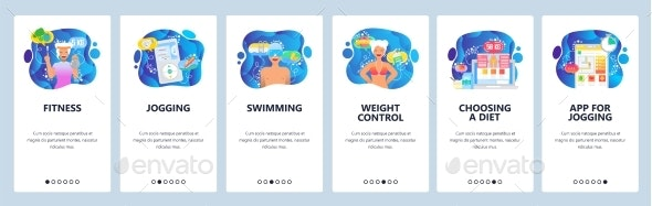 Mobile App Onboarding Screens Fitness - Sports/Activity Conceptual