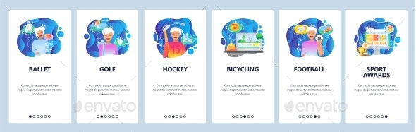 Mobile App Onboarding Screens Sport Players - Sports/Activity Conceptual