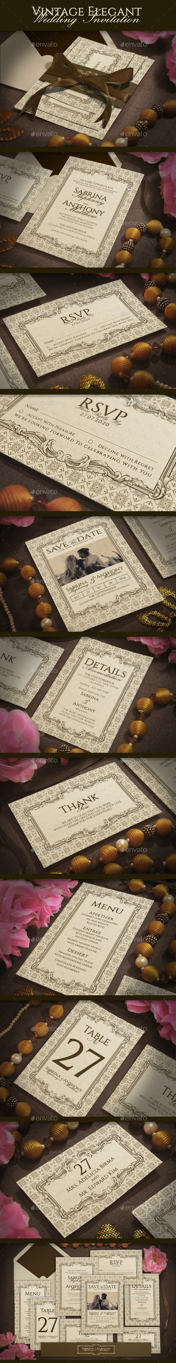 Vintage Elegant Wedding Invitation - Weddings Cards & Invites