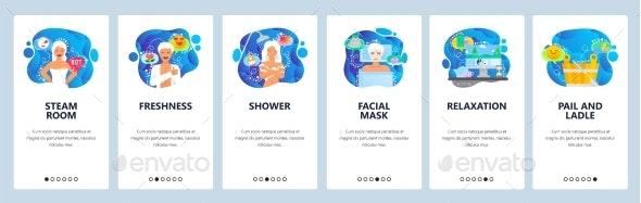 Mobile App Onboarding Screens Steam Sauna - Miscellaneous Conceptual