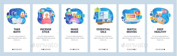 Mobile App Onboarding Screens Relax and Spa - Web Elements Vectors
