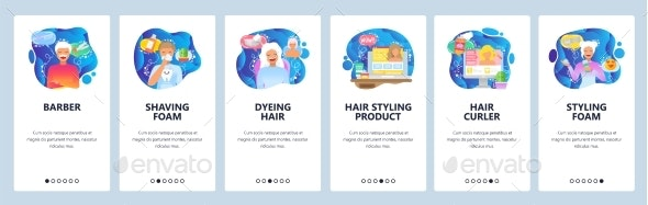Mobile App Onboarding Screens Barbershop and Beauty - Web Elements Vectors