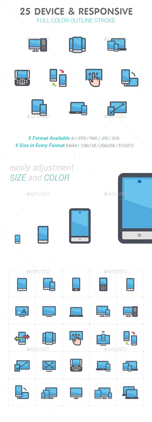 25 Device & Responsive Color Icon - Technology Icons