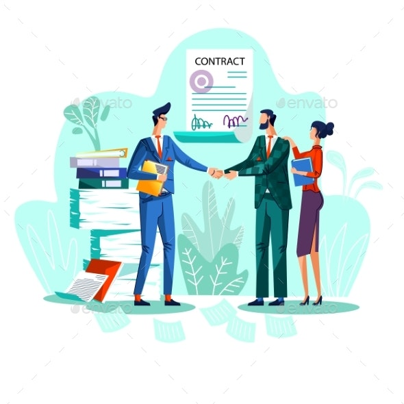 Contract Conclusion Concept Vector Illustration - Concepts Business