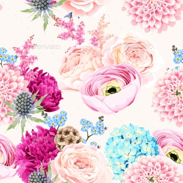 Seamless Pattern with Pink and White Flowers - Flowers & Plants Nature