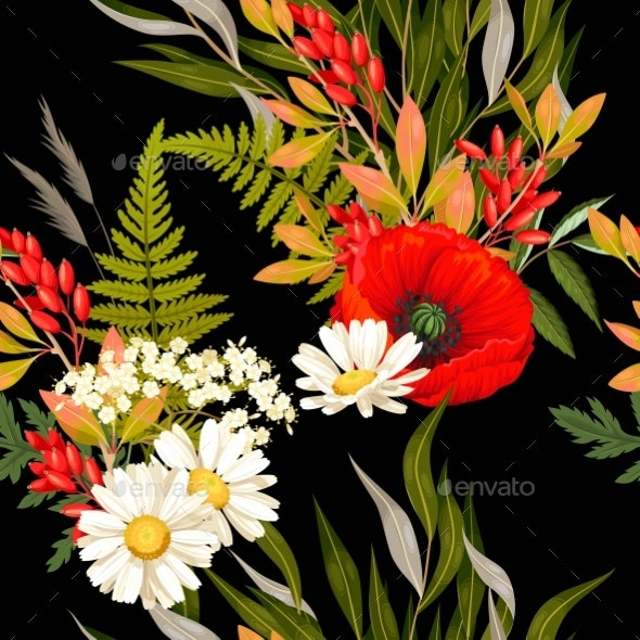 Meadow Flowers and Leaves Vector Seamless Pattern - Flowers & Plants Nature