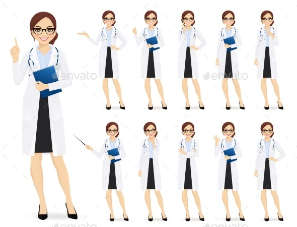 Female Doctor Set - Health/Medicine Conceptual
