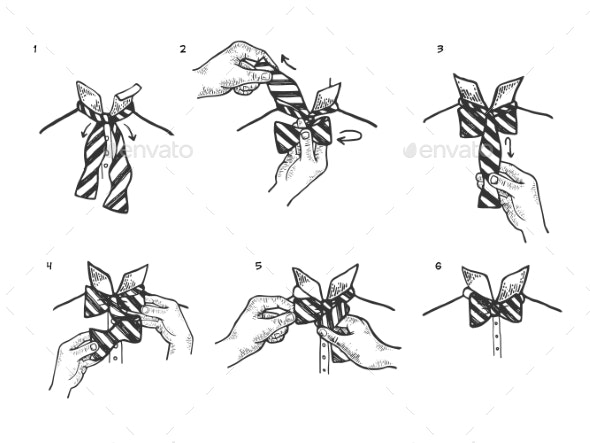 Bow Tie Instructions Sketch Engraving Vector - People Characters