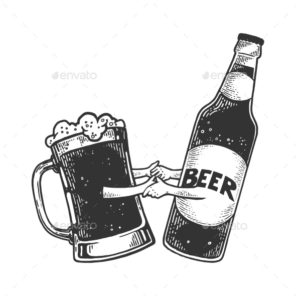 Beer Mug Dance with Bottle Sketch Engraving Vector - Food Objects