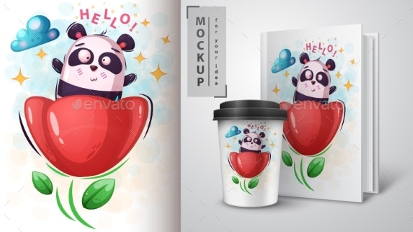 Flower Panda - Mockup for Your Idea - Animals Characters