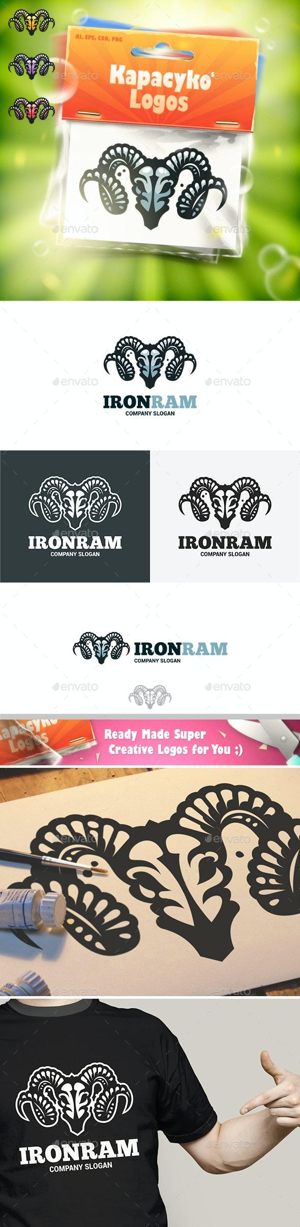 Iron Ram Skull Logo - Animals Logo Templates