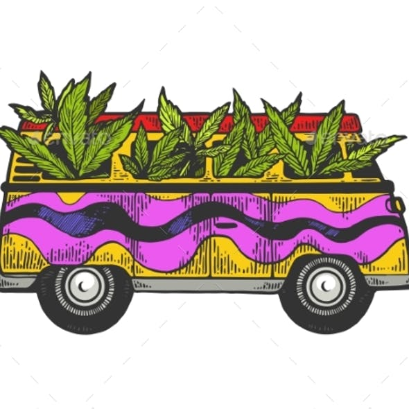 Minibus Van with Cannabis Leaf Sketch Engraving