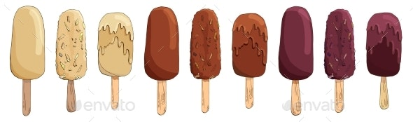 Set of Vector Hand Drawn Chocolate Ice Cream - Food Objects