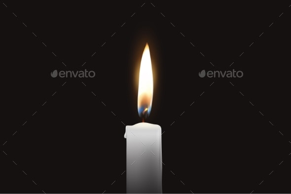 Vector Realistic One Single Wax Candle Flame - Organic Objects Objects