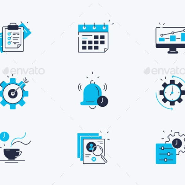 Productivity Line Icons Set