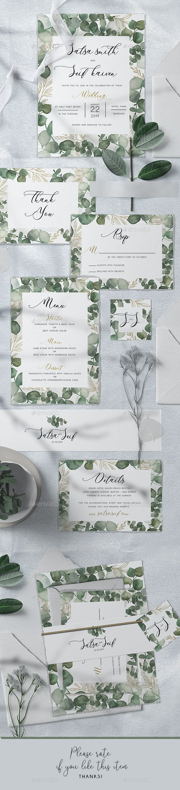 Eucalyptus Wedding Invitation - Weddings Cards & Invites