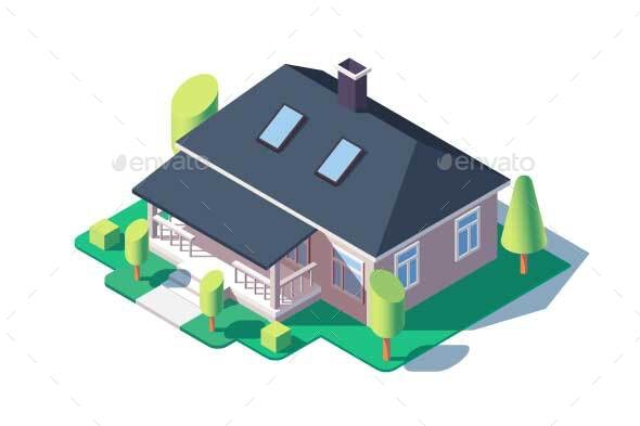 One Story House with Green Lawn - Buildings Objects