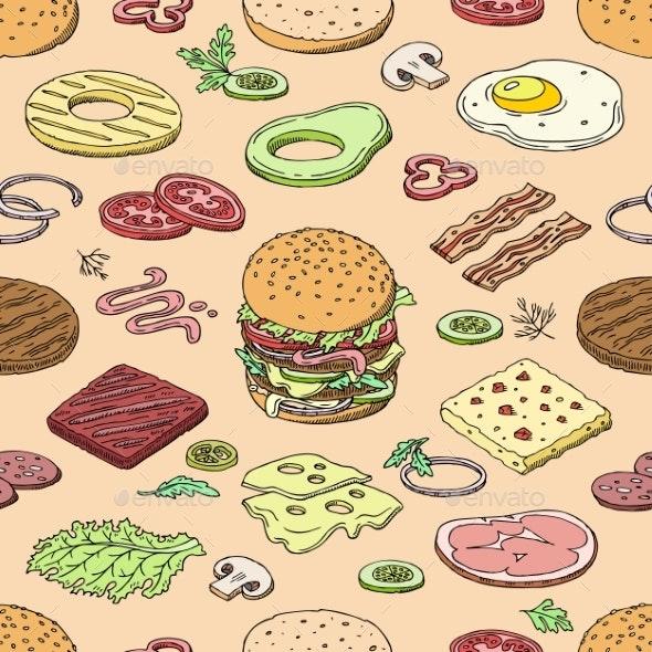 Burger Vector Fast Food Hamburger or Cheeseburger - Food Objects