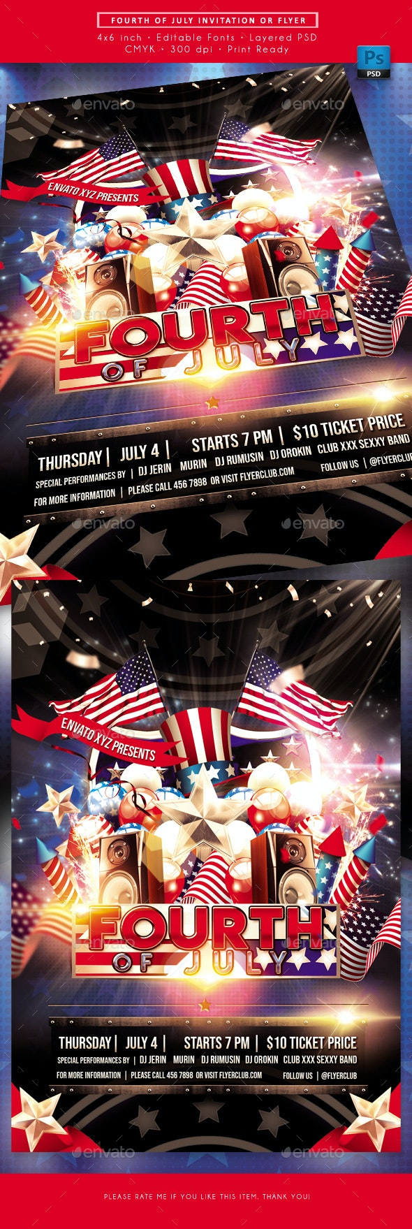 Fourth of July USA Flyer - Holidays Events