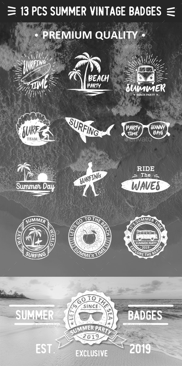Vintage Badges of Summer Time - Miscellaneous Characters