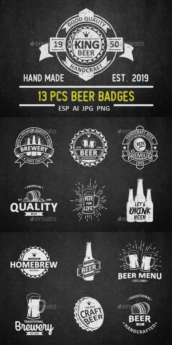 Vintage Brewery Badges, Labels And Emblems - Badges & Stickers Web Elements