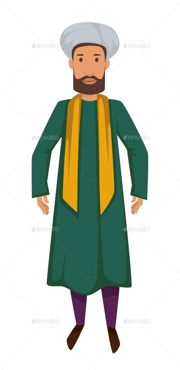 Indian Man in Traditional Clothing - People Characters