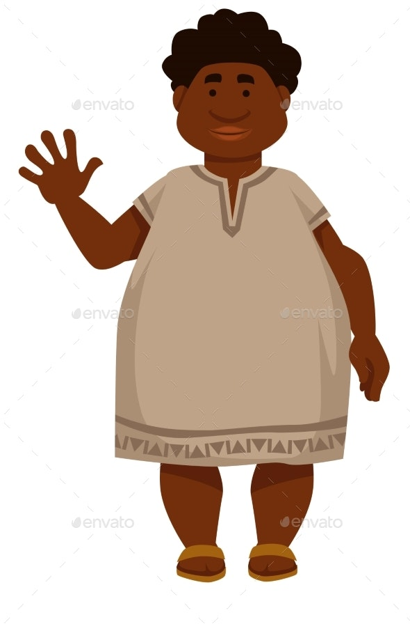 Plump African Man in Long Shirt and Sandals - Animals Characters