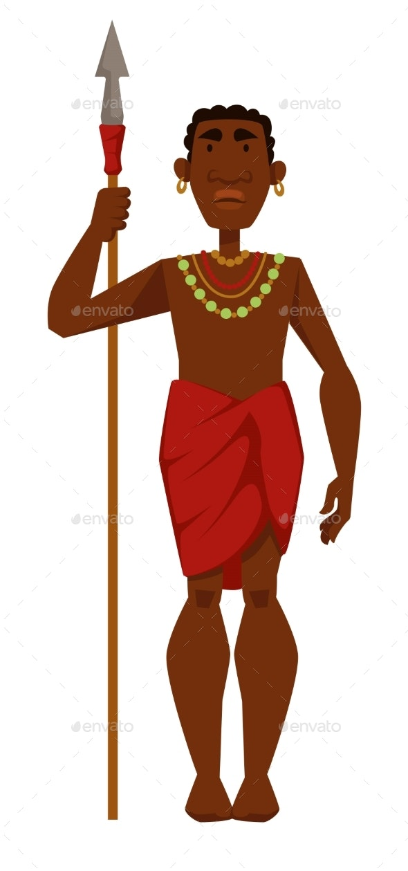 African Man Warrior Tribe Member in Jewelry - Animals Characters