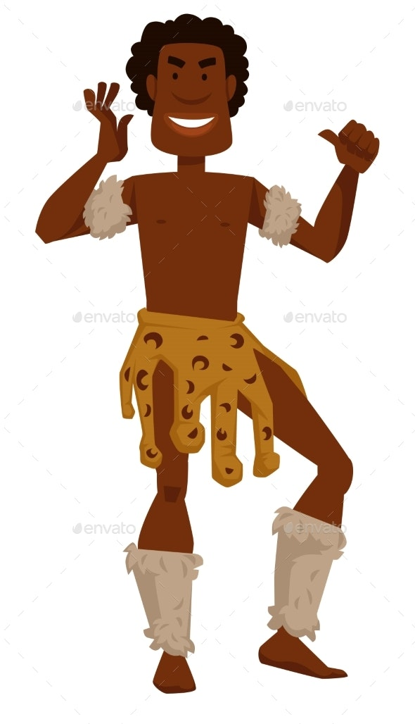 African Tribe Member Man in Animal Skin and Fur - Animals Characters