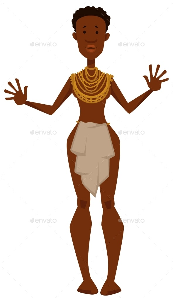African Woman Naked in Loincloth and Gold - Animals Characters