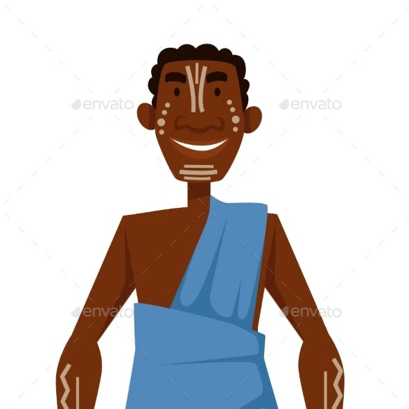 African Man with White Tattoos in Dress Tribe