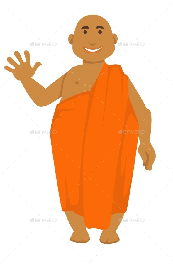 Indian Monk in Orange Robe Bald Man Waving Hand - Religion Conceptual