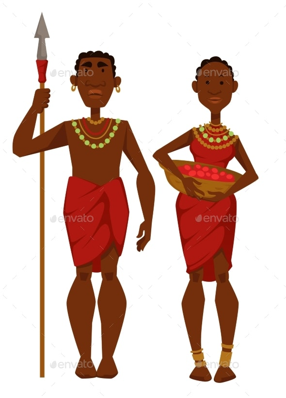 African Family Tribe Members Man Warrior - Animals Characters
